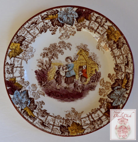 Spode Brown Transferware Bread Plate Mother Boy Dog English Country Cottage