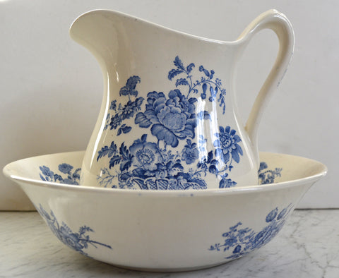 Charlotte Floral Blue Transferware Wash Bowl - Basin and Pitcher Basket of Roses