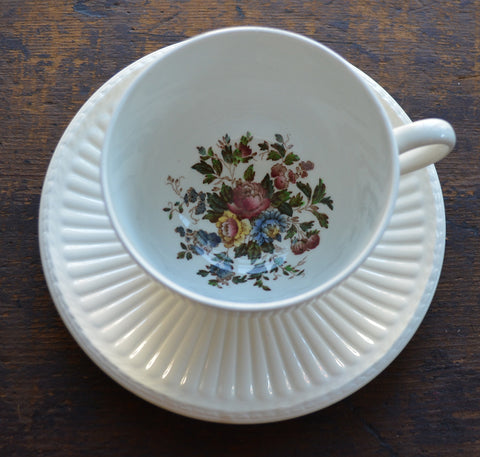 Vintage Wedgwood Hand Painted Cabbage Roses Brown Transferware Salad Plate Relief Border Teacup and Saucer