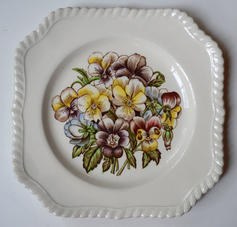 Pansy Old Flower Prints Vintage Square Brown Transferware Plate Pie Crust Border