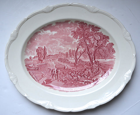 Lg Scenes After Constable Red / Pink Transferware Platter Flatford Mill Pastoral Scene Horse & Child