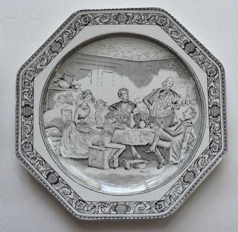 Vintage English Black Transfeware Octagon Shaped Plate Charles Dickens David Copperfield Mr Micawber delivers some valedictory remarks