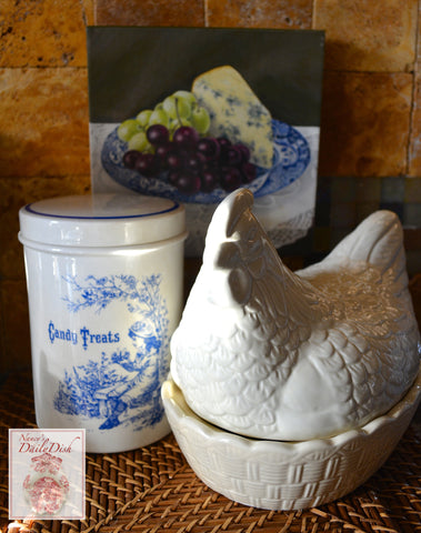 Stoneware French Country English Nesting Hen Lidded Egg Storage Basket Tureen