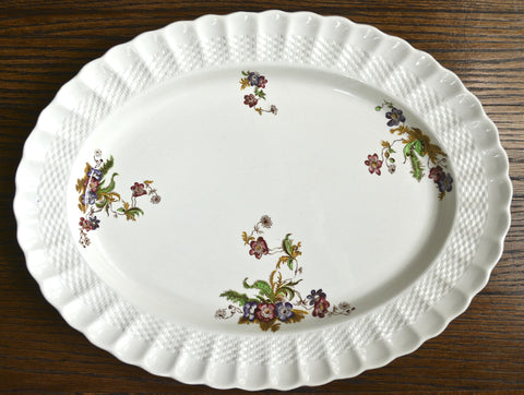 Hand Painted Spode Copeland Wicker Lane Brown Transferware Floral Platter w/ Wicker Weave Embossed Border