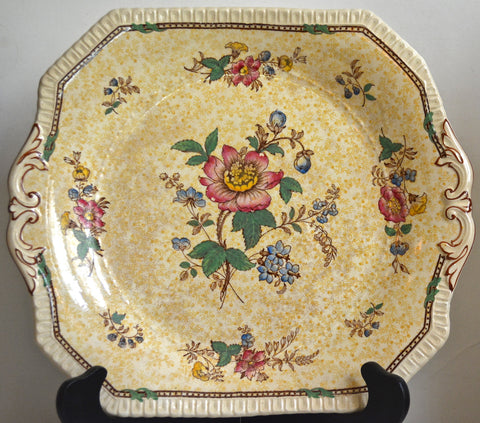 RARE Yellow Chintz & Brown Two Color Transferware Antique English Tab Handled tray / Platter Roses Flowers George Jones Crescent Pottery
