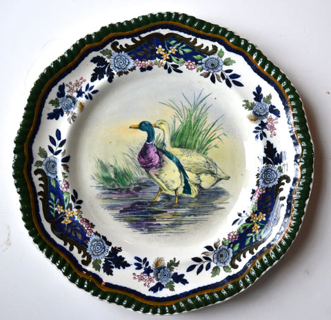 Antique Copeland Late Spode Cobalt Blue Transferware Plate Mallard Duck Game Bird Handpainted in Vivid Detail