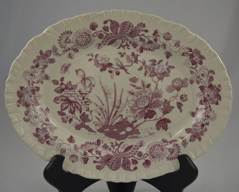 Magenta Wedgwood Purple English Transferware Platter Nautical Sea Shells & Botanicals
