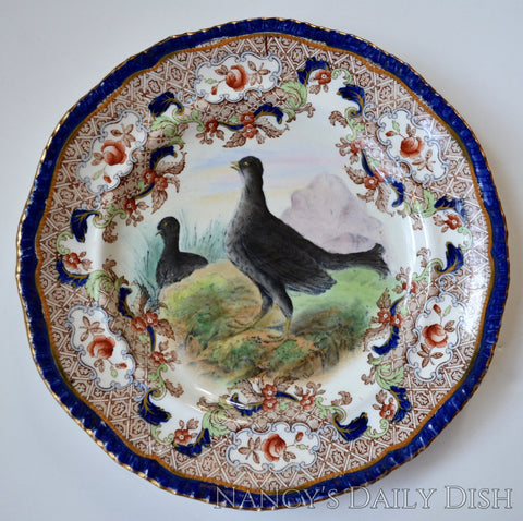 Spode Copeland Grouse Game Bird Plate Elaborate Transferware Hand Painted