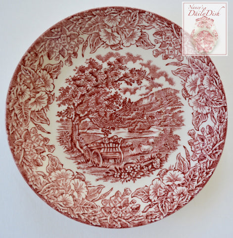 Red Transferware Ironstone Plate Grazing Sheep & Cart full of Wood on Farm English / French  Farming Scenery