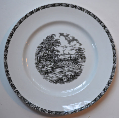 Vintage Black Transferware Plate Rustic England Rural Scenes Sheep Farm Dog Waterfall