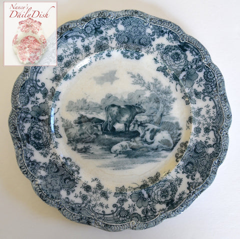 Antique Grazing Cattle Cows Plate Teal Blue Transferware Staffordshire China  Ridgway Staffordshire Beehive Stamp