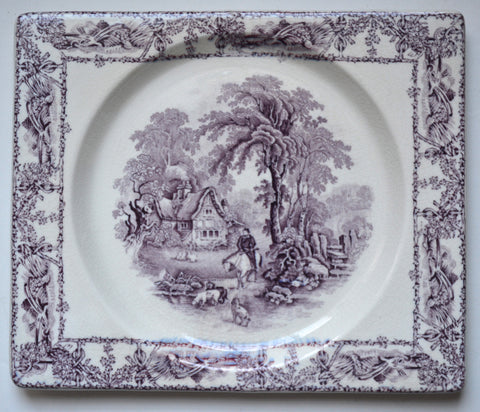 Square Rectangular Purple Transferware Biarritz Platter Tray Hunt Scene Rural Scenes