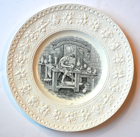 Wedgwood Black Transferware Round Platter / Plate The Potters Wheel Creamware Embossed Border
