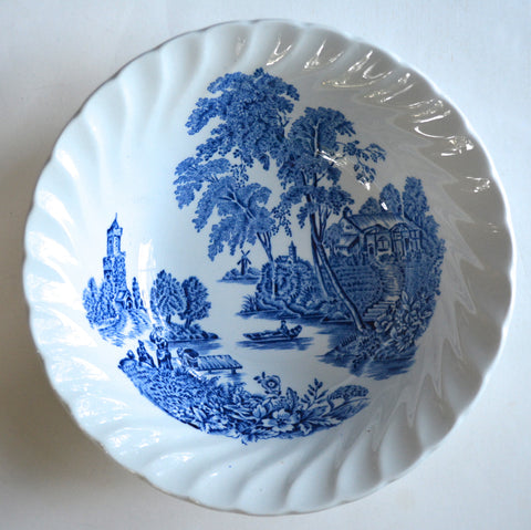 Set of 8 Blue & White Transferware Cereal / Soup Bowls English Transfer Ware  Scenic Ferry Boat Crossing Roses Cottage