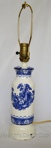 19th C Watteau English Transferware Blue & White Lamp Musical Serenade New Wharf Pottery