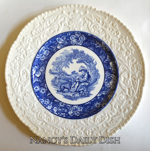 Circa 1930 Blue English Transferware Charger Round Platter Shepherd Boy & Sheep Embossed Border