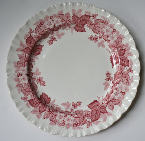 Vintage Wedgwood Red English Transferware Plate Bramble Berry Wreath & Vines