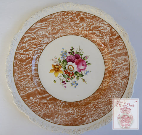 Circa 1930 Faux Bois Brown & Purple Hand Painted English Transferware Charger Plate Bouquet of Roses and Flowers STUNNING