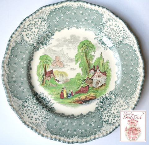 Vintage English Teal Green Bi Color Transferware Pastoral Plate Cows Goat Bridge Royal Doulton Chatham