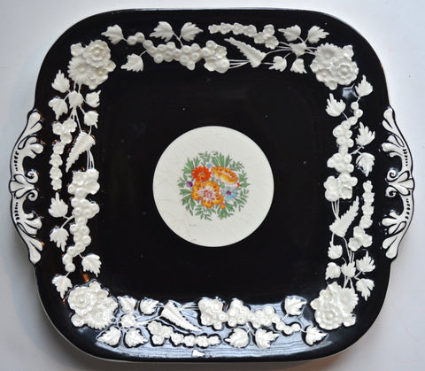 Clobbered Tab Handled Platter Embossed Floral Border Rhapsody George Jones Hand Painted Floral Bouquet