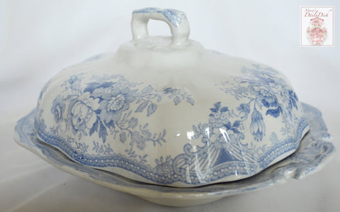 Antique Light Blue Transferware English Staffordshire Covered Tureen Asiatic Pheasants Pheasants Butterfly Birds Roses