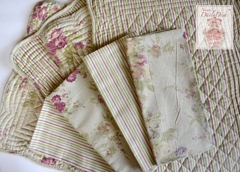 Set of 4 Country French Roses & Sage Green & Rose Stripes Dinner Napkins & Reversible Quilted Placemats