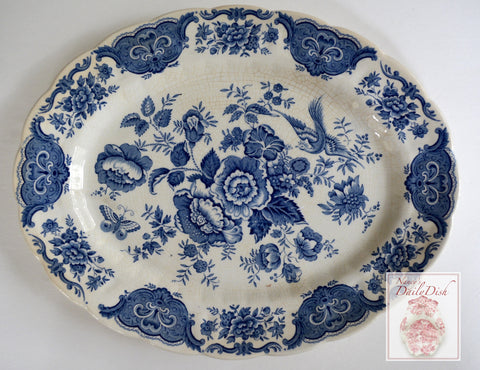 Vintage Ridgway Blue & White Toile English Transferware Platter Birds Pheasants Flowers Roses