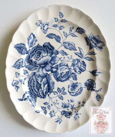Vintage Blue Toile Transferware Platter Bouquet of English Cabbage Roses
