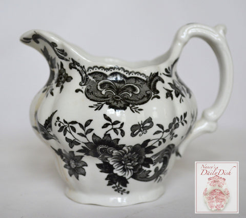 Vintage Black English Transferware Toile Creamer Roses Birds Windsor Asiatic Pheasants