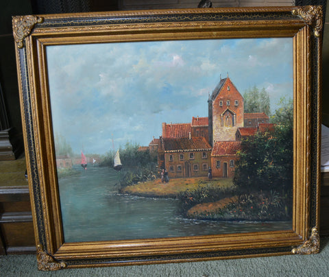 Vintage Signed Landscape Oil Painting European River Scene Sailboats Ornate Gold & Black Wood Frame