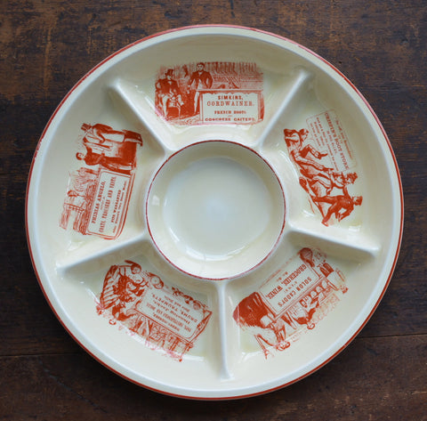 Advertising English Ironstone 6 Section Hors d'oeuvre Appetizer Tray Brick Red Print / French Boots / Cheeses /  Butcher Counter Display
