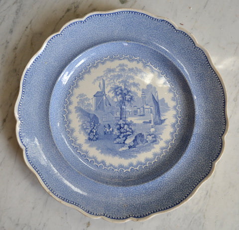 Circa 1830 Antique Staffordshire Light Blue Transferware Soup Plate Scroll Grazing Cattle / Cows