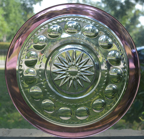 "Cranberry Pink Kings Crown Thumbprint Tiffin Glass Plate 7 1/2"" Light Ruby"