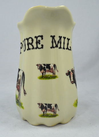 "7"" Pure Milk Ironstone Advertising Dairy Pitcher with Cows / Cattle"
