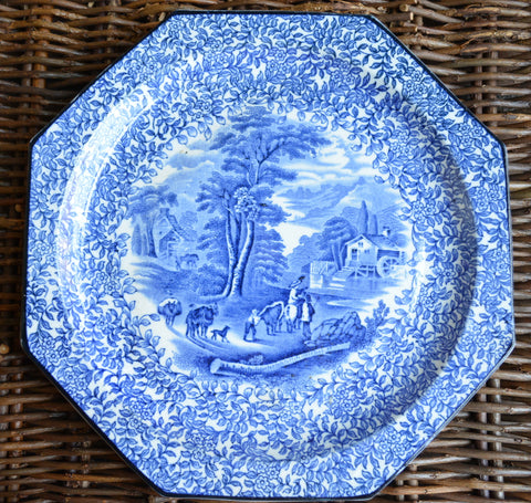 Vintage Blue British Transferware Octagon Plate Chintz Border Cattle Water Mill Rural Scenery