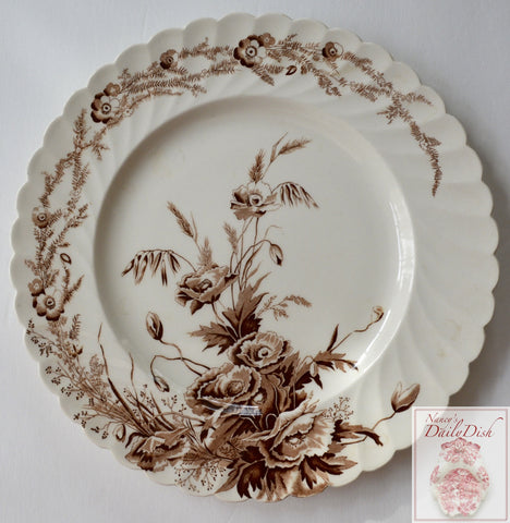 Vintage Brown & White Scalloped Floral Transferware Plate Clarice Cliff Harvest Poppies Wheat