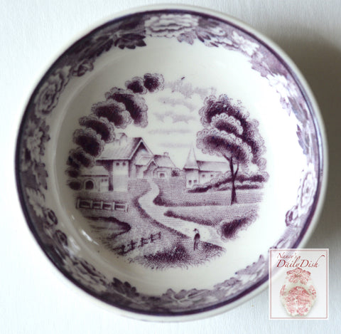 Purple Transferware Staffordshire Salt Cellar Butter Dip Ring Holder  English Scenery Wood and Sons