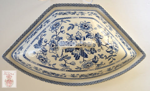Blue English Transferware Chinoiserie Crescent Shaped Covered Serving Dish Tureen