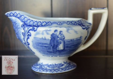 Crown Ducal Blue Transferware Thanksgiving Creamer Indian Spout Plymouth Rock Pilgrim