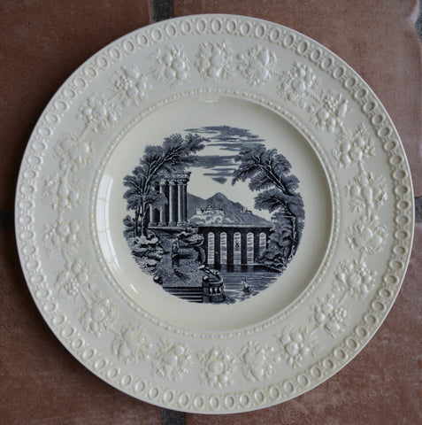 Wedgwood Black Transferware Charger Plate Tray Embossed Border Italian Country Seaside Scenes #6