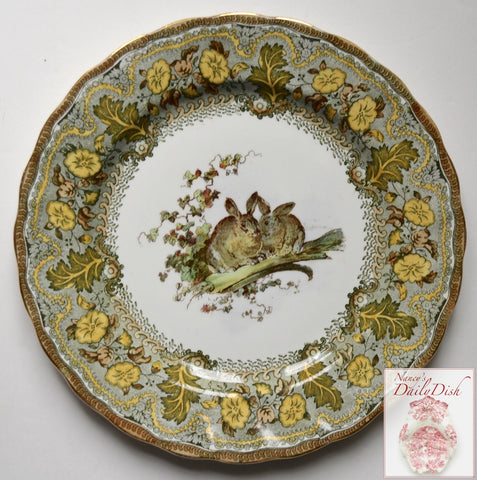 Antique Royal Doulton Pair of Bunny Rabbits with Leeks & Ivy Leaves Plate Hand Painted Green & Brown Two Color Transferware