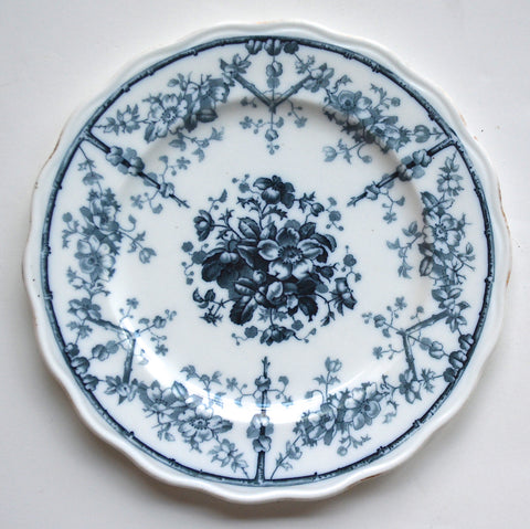 Antique 19C Aesthetic Movement Victorian Flow Blue Transferware Plate Branches & Flowers Westhead & Moore Circa 1868-88