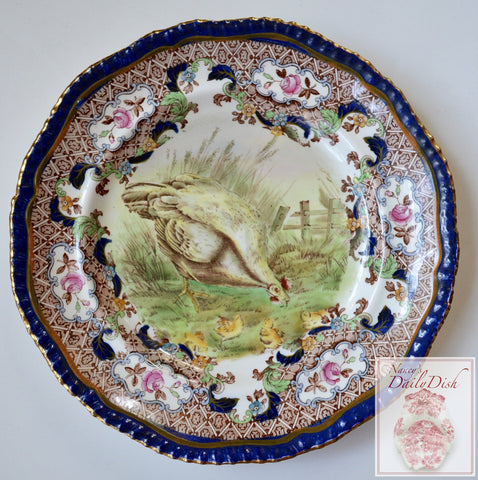 Antique Spode Copeland Upland Chicken Hen & Chicks Game Bird Plate Elaborate Transferware Hand Painted