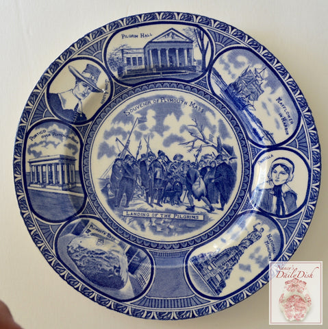 Blue English Transferware Plate Landing of the Pilgrims John Priscilla Alden Thanksgiving China