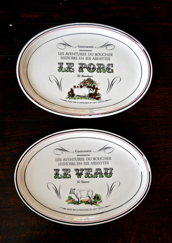 Gien French Advertising Black Transferware Platter Le Veau Veal Calf Cattle Baby Cow Le Charolais Gastronomie & Gien French Advertising Black Transferware Platter Le Veau Veal Calf C