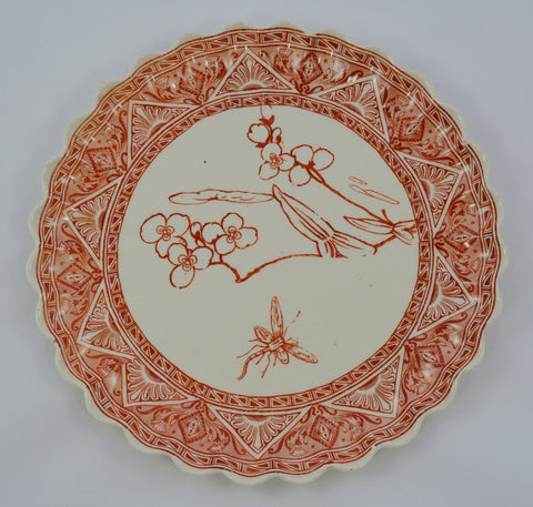 Aesthetic Movement Cayenne Red / Orange Transferware Plate Antique Spode Copeland Fluted Edge Water Lily Aquatic Scene Dragonfly  Pond
