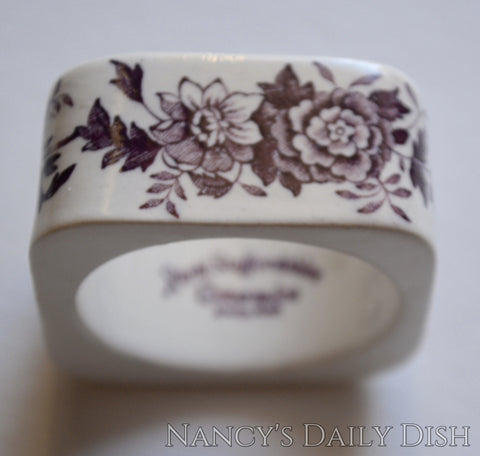 Purple Transferware Napkin Ring Tonquin Flowers Roses  Hard to Find