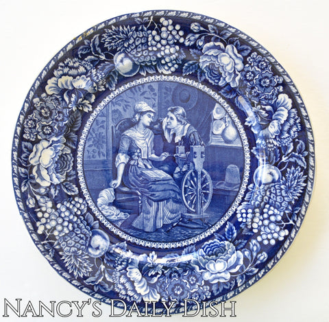 Antique Blue Toile Transferware Plate Pilgrim Couple / John Priscilla Alden Thanksgiving China