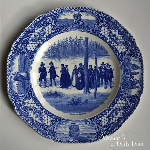Blue Colonial Times Transferware Plate Pilgrims Going To Church Historical Staffordshire