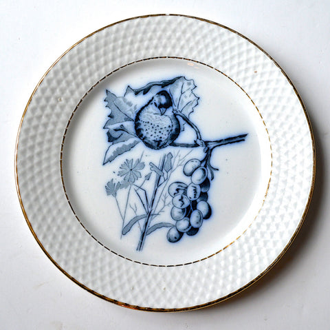 Vintage Flow Navy Blue TransferWare Plate Bird on a Branch Grape Leaves Embossed Border